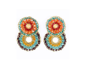 Multicolored Hand Made Crochet Small Double Hoops Earrings