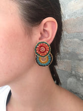Load image into Gallery viewer, Multicolored Hand Made Crochet Small Double Hoops Earrings