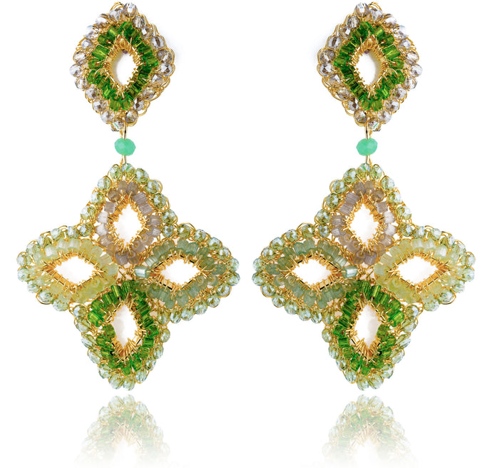Checkers Hand Crochet Green Earrings