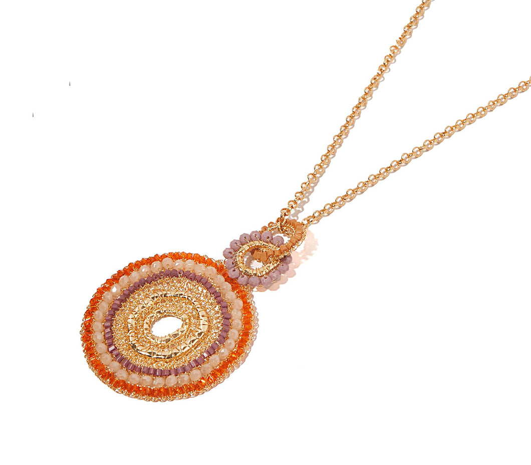 Boho Orange Organic Shaped Pendent