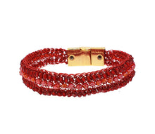 Load image into Gallery viewer, Narrow Red Crochet Signature Cuff