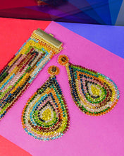 Load image into Gallery viewer, Large Multicolored Hand Made Crochet Tear Drop Earrings