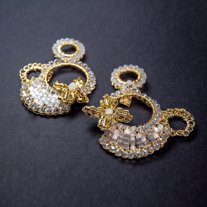 Hand Crochet Gold Crystal Flower Earrings