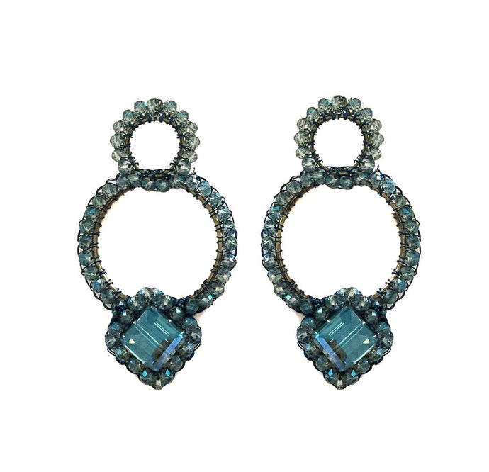 Asymmetric Hand Crochet Sapphire Earrings
