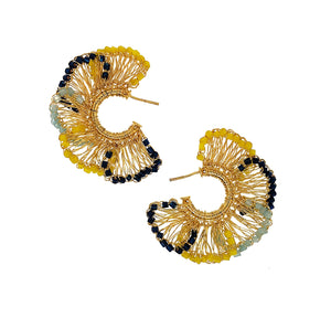 Summer Gold Hand Crochet Ruffled Small Hoops Earrings