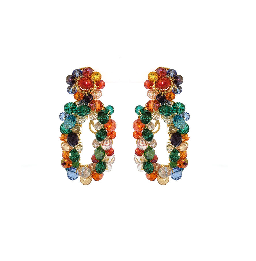 Multicolored Crystal Crochet Rectangular Shaped Cut-Out Dangle Earrings