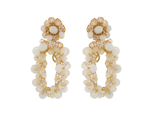 White Crystal Crochet Rectangular Shaped Cut-Out Dangle Earrings
