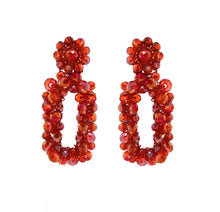 Load image into Gallery viewer, Red Crystal Crochet Rectangular Shaped Cut-Out Dangle Earrings