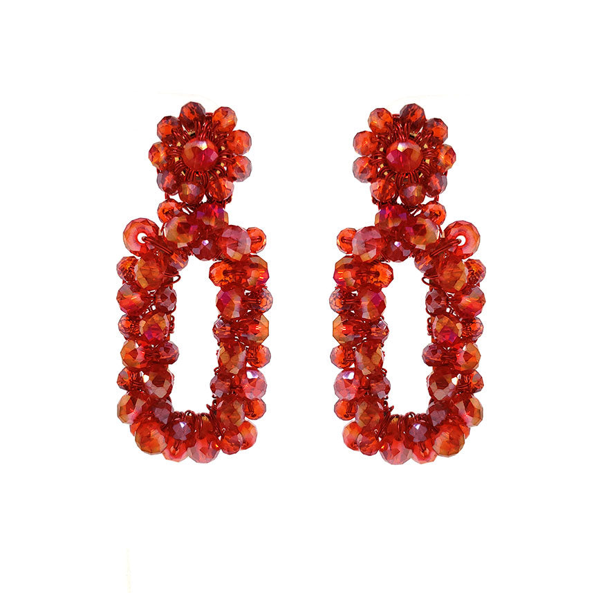 Red Crystal Crochet Rectangular Shaped Cut-Out Dangle Earrings