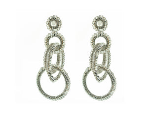 All Silver Hand Crochet Interlocked Hoops
