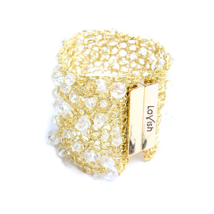 Gold Crystal Open Mesh Cuff