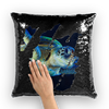 Blue Turtle Sequin Cushion Cover