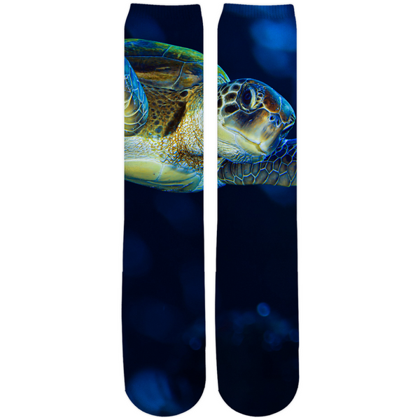 Dark Blue Turtle Crew knee-high socks