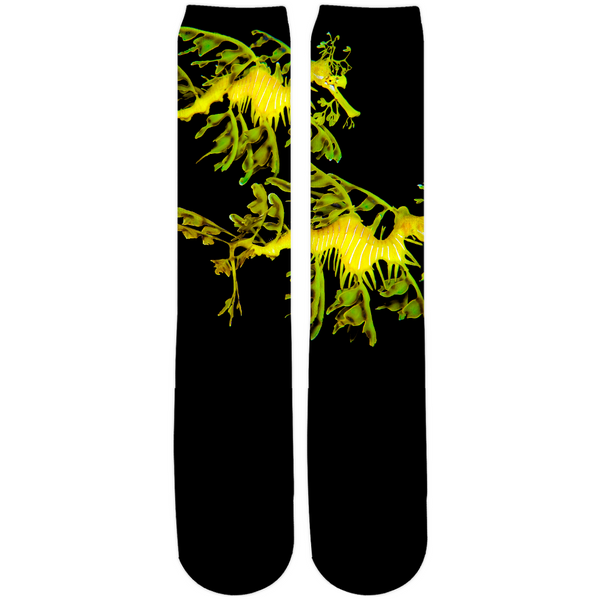 Leafy Sea Dragon Couple Crew, Knee High socks