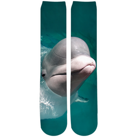 Beluga Whale Socks - Crew Knee High Socks