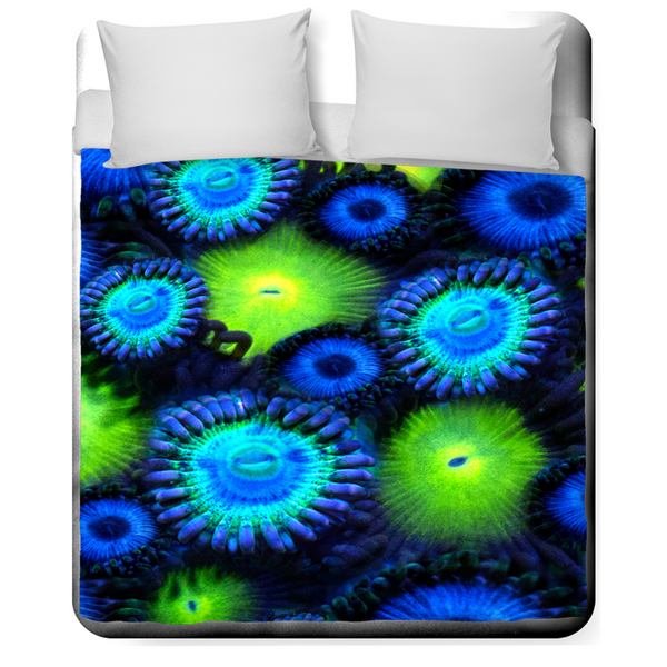 Blue and Green Zoanthid Garden Duvet Covers