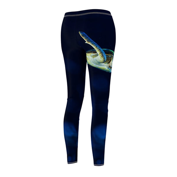 Women's Dark Blue Turtle Casual Leggings