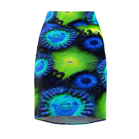 Blue and Green Zoanthid Garden Women's Pencil Skirt