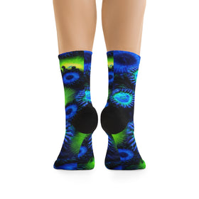 Blue and Green Zoanthid Garden DTG Socks