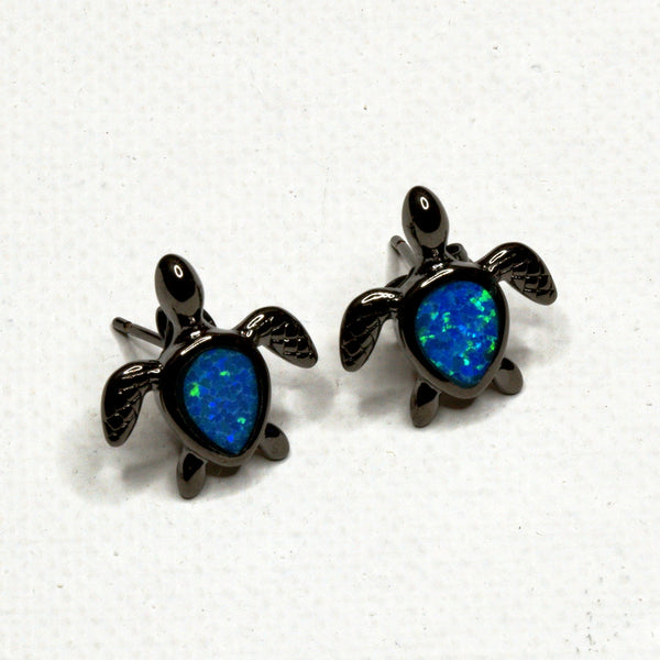 Aqua Stone Turtle Earrings