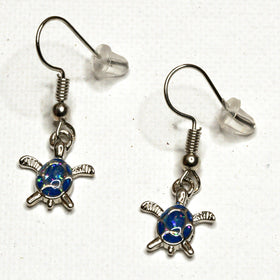 Dangling Aqua Stone Turtle Earrings