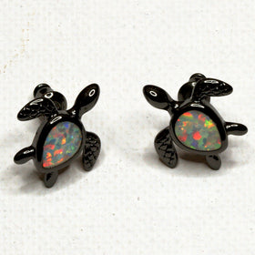 White Stone Turtle Earrings