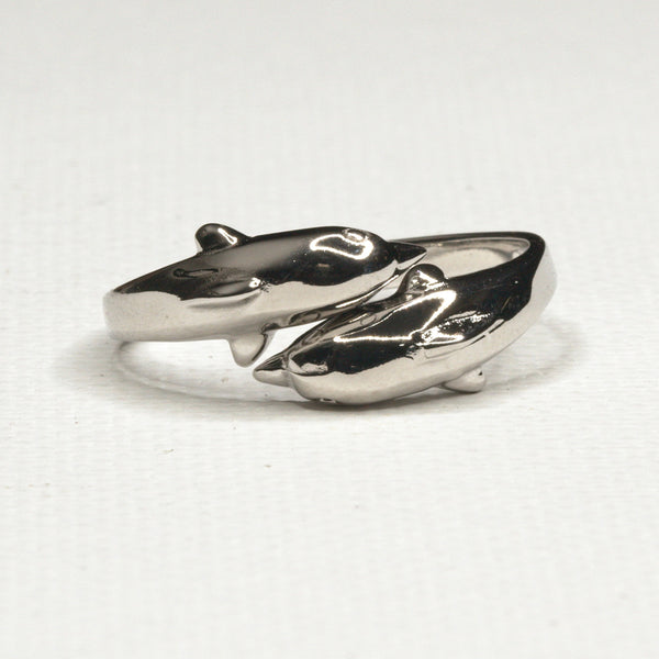Silver Double Hugs-Dolphin Ring
