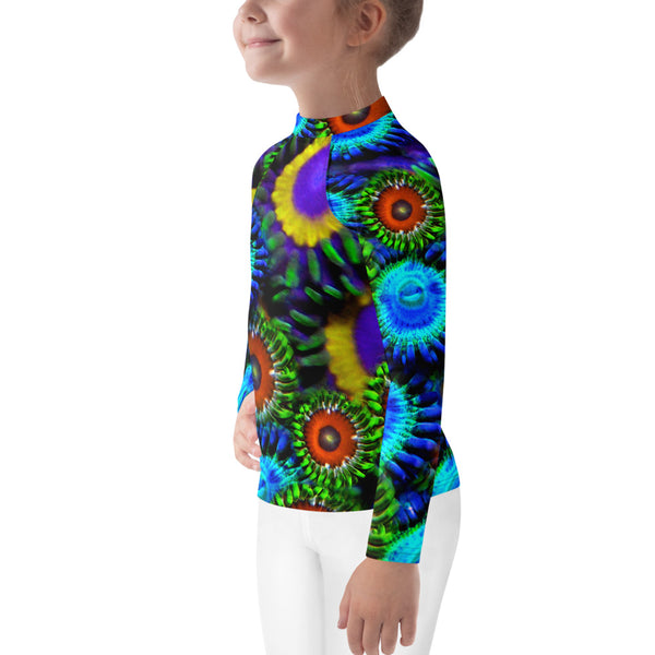 Multi Colored Zoanthid Garden Kids Rash Guard
