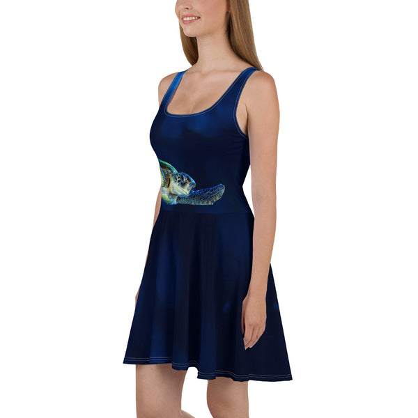Dark Blue Turtle Skater Dress