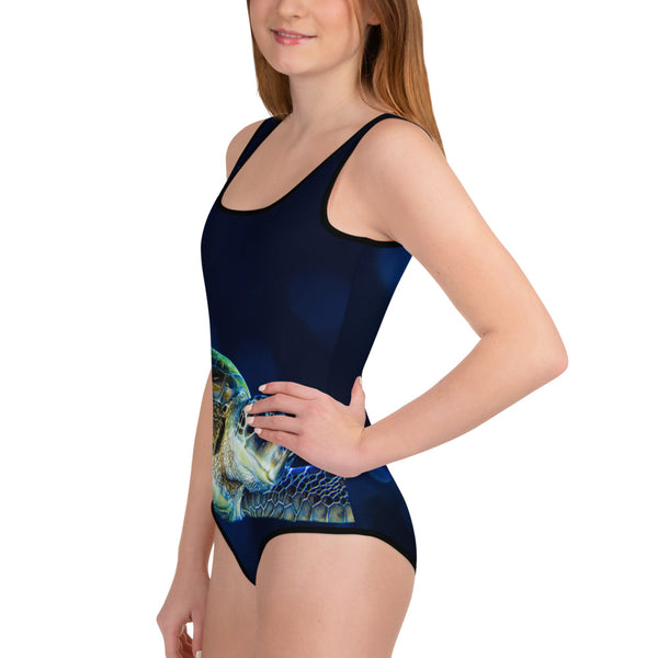 Youth Dark Blue Turtle Swimsuit