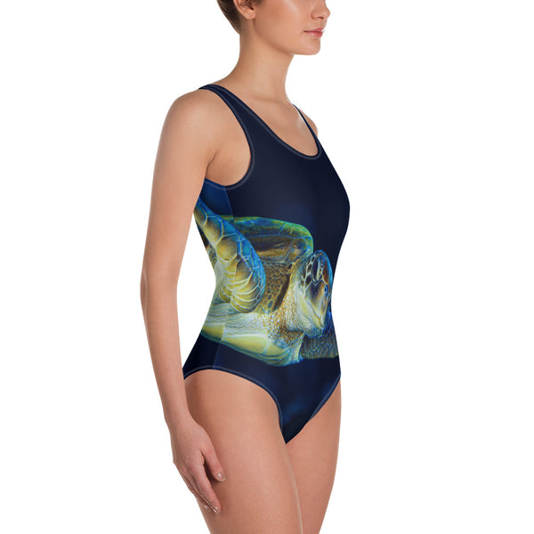 Dark Blue Turtle One-Piece Swimsuit