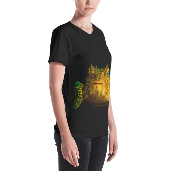 Porcupine Pufferfish Women's V-neck