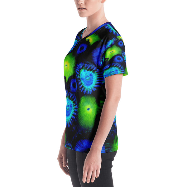 Blue and  Green Zoanthid Garden Women's V-neck