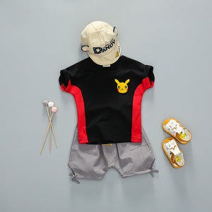 Cute Pikachu Cotton Summer Short Sleeve T-Shirt Set for Kids