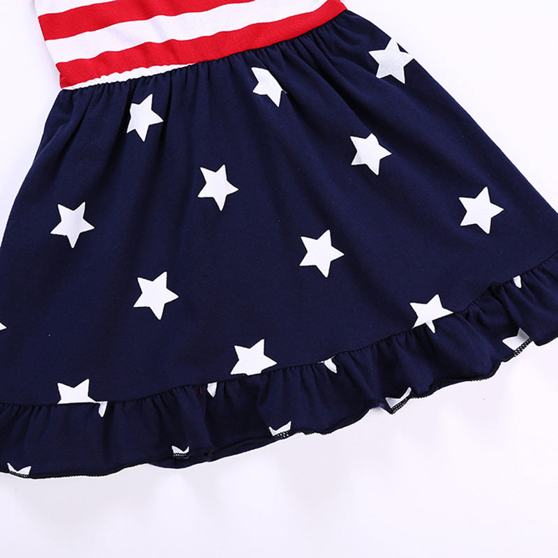 American Independence Day Star Striped Sling bow-knot Princess Dress