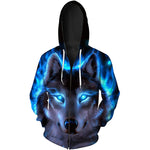 Wolf head 3d digital print long sleeve hoodie