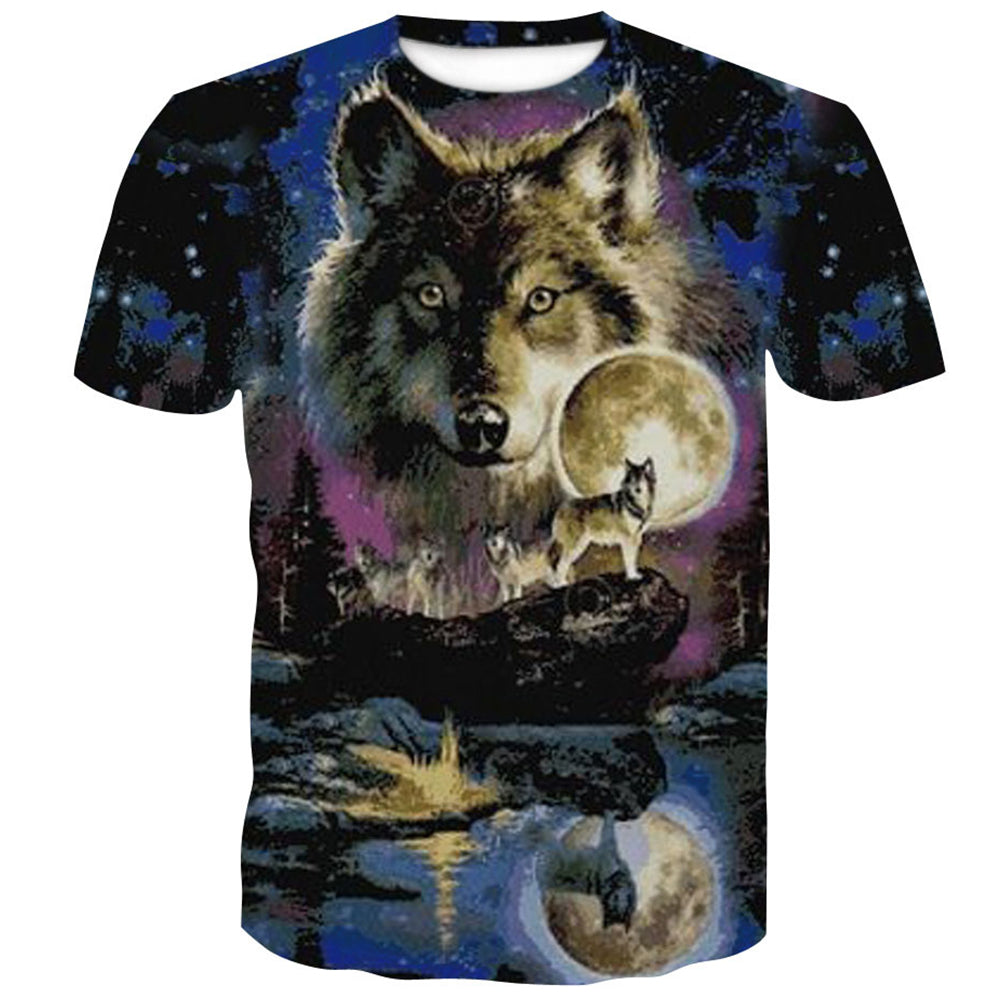 Trend Snow Wolf  Loose Short Sleeve T-Shirt