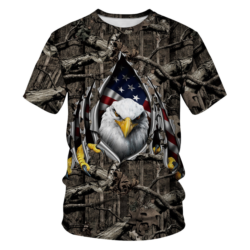 4th of July 3D Eagle Print T-shirt