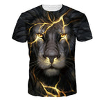 Unisex 3D Lion Crack Print T-shirt