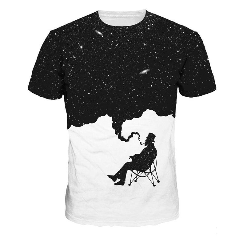 Unisex 3D Smoking Space Print T-shirt