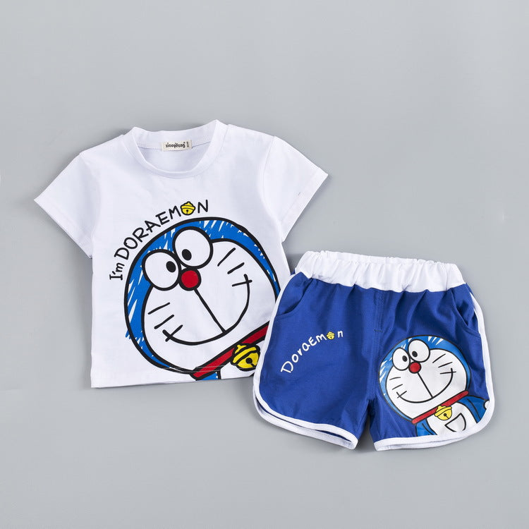 Cartoon Doraemon Short T-Shirt Shorts Two-Piece Cotton Set for Kids