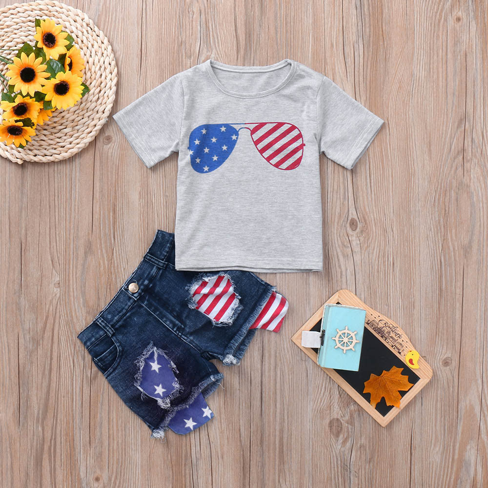 Independence Day Fashion T-Shirt Denim Shorts Set for lovely Girls