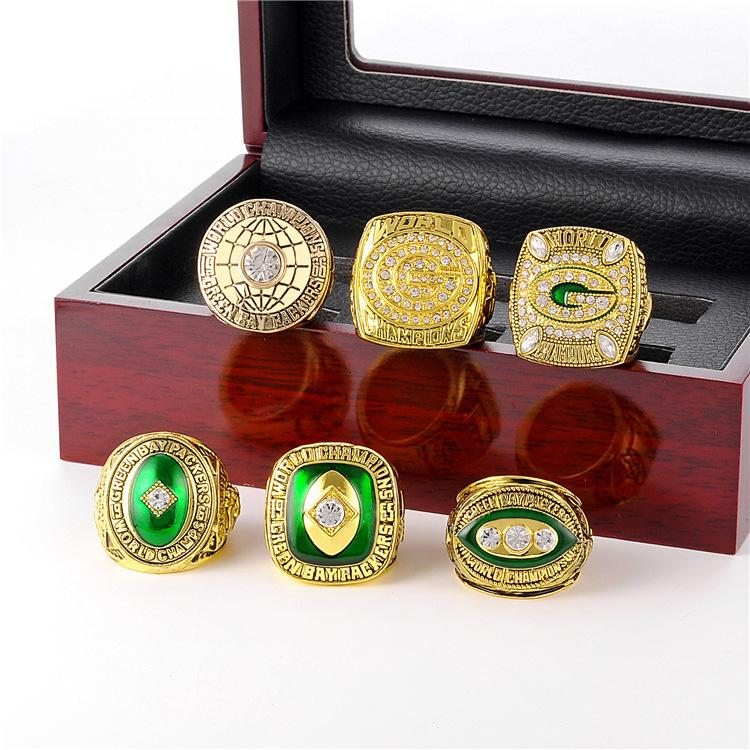 6-Year Set NFL Green Bay Packers Super Bowl Ring Wooden Box Commemorative Edition