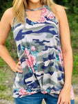 Camouflage Floral Printed Hollow Out Tank