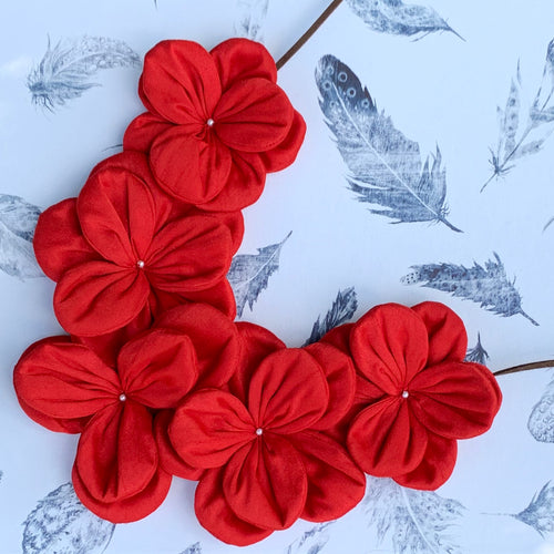 Cloth Flowers Necklace Red