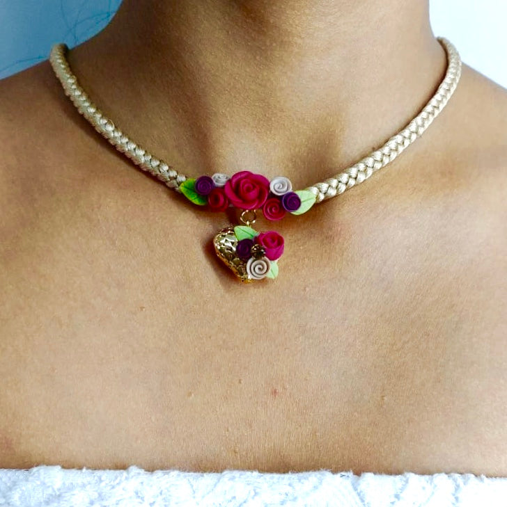 Small Floral Heart and Braided Necklace