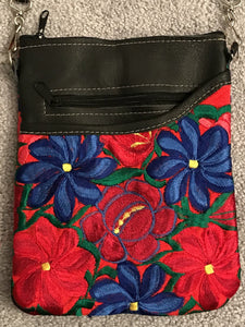Leather Crossover Bag with Embroidered Flowers