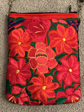 Load image into Gallery viewer, Leather Crossover Bag with Embroidered Flowers