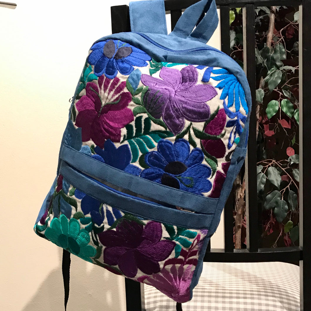 Embroidered Flowers Blue Suede Backpack