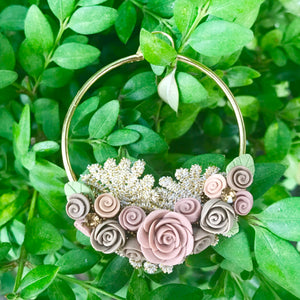 Large Floral Hoop Earrings